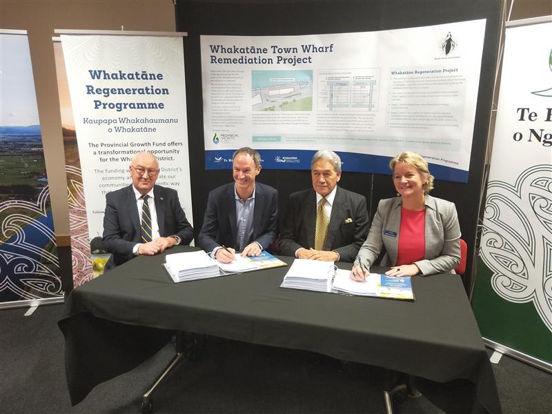 Signing of the contract for the repair of Whakatane and Ohope Wharves